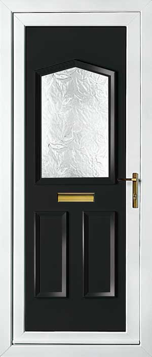 Oxford One Patterned black upvc front door